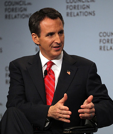 Republican presidential candidate Tim Pawlenty speaks at the Council on Foreign Relations on June 28, 2011 in New York City.