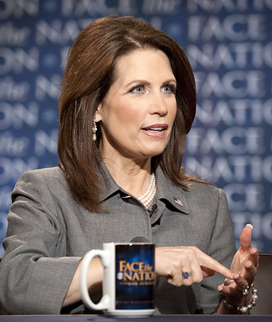 In this handout provided by CBS News, Presidential candidate Rep. Michele Bachmann (R-MN) appears on