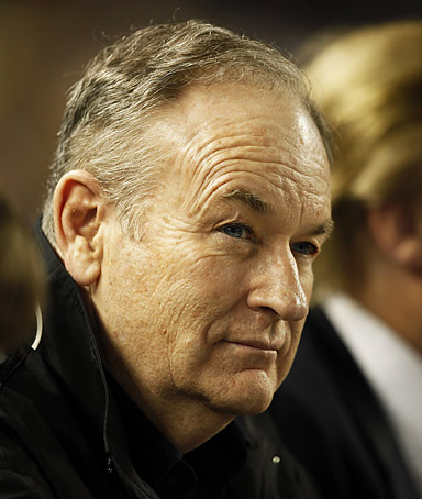 News commentator Bill O'Reilly watches from the stands during the game between the New York Yankees and Minnesota Twins at Yankee Stadium on May 15, 2009 in the Bronx borough of New York City.