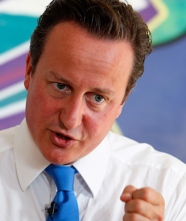 Prime Minister David Cameron speaks at a youth center in his constituency on August 15, 2011 in Witney, England.