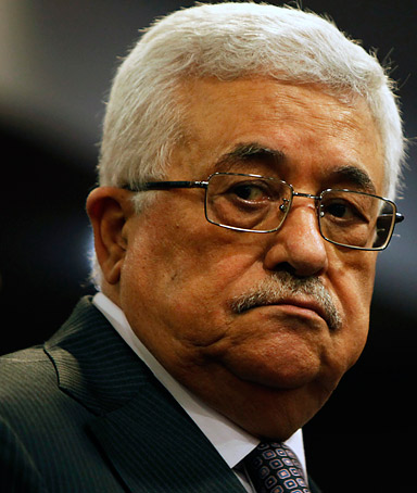 Palestinian President Mahmoud Abbas leaves a news conference in Sarajevo on August 16, 2011.