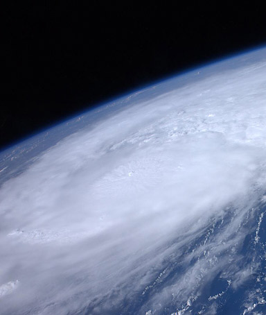 NASA handout image of Hurricane Irene moving over the Caribbean taken by astronaut Ron Garan from the International Space Station on August 22, 2011.