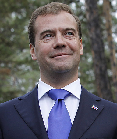 Russian President Dmitry Medvedev speaks to journalists following the talks with North Korean leader Kim Jong-il at Sosnovy Bor military garrison in eastern Siberia, Russia on August 24, 2011.
