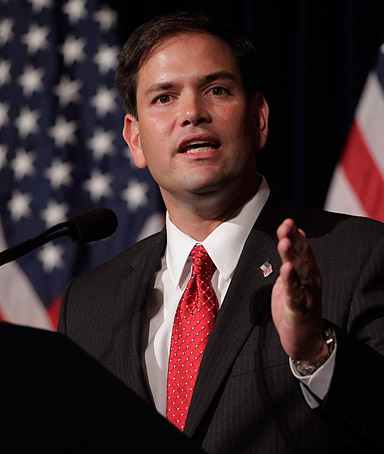 Senator Marco Rubio speaks during the Reagan Forum at the Ronald Reagan Presidential Library in Simi Valley, California on Tuesday, August 23, 2011.