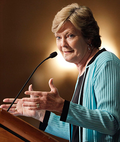 Tennessee women's basketball head coach Pat Summitt speaks as she is inducted into the Tennessee Women's Hall of Fame on June 17, 2011, in Nashville, Tennessee.