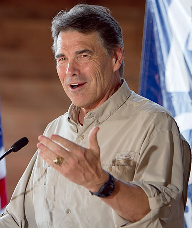 Republican presidential contender, Texas Governor Rick Perry, speaks at the Polk County GOP summer picnic event held at the Iowa State Fairgrounds in Des Moines, Iowa on Saturday, Aug. 27, 2011.