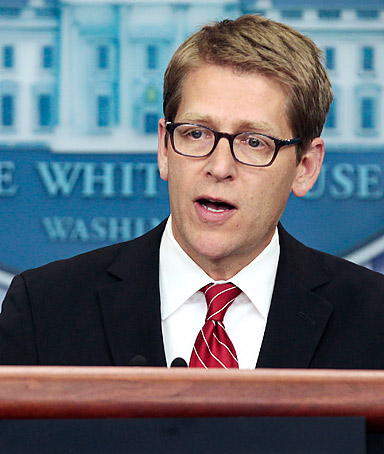 White House Press Secretary Jay Carney speaks during a news briefing on August 29, 2011 in Washington, D.C.
