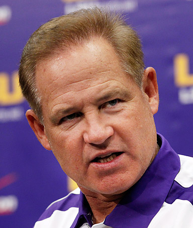 LSU head coach Les Miles talks during a news conference at NCAA college football media day in Baton Rouge, Louisiana on August 9, 2011.