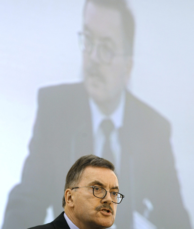 File photo of European Central Bank's Executive Board member Juergen Stark attending an economic conference in Athens May 18, 2011. Stark will step down from his post because of a conflict over the central bank's controversial bond-buying program