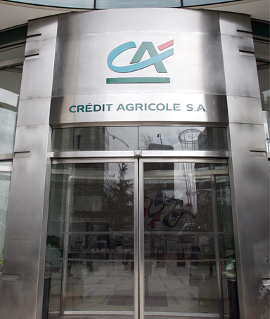 A combo made on September 12, 2011 shows logos of the French banks, Credit Agricole taken in 2005, Societe Generale taken in 2002