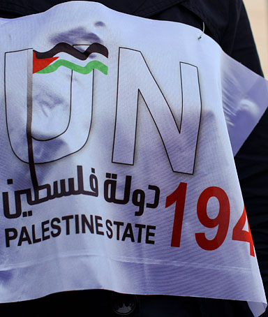 An activist of the Palestine 194 campaign has a bib attached to her dress as she distributes flags and leaflets in order to drum for Palestine to become the 194th state recognized by the UN, in the West bank town of Ramallah, on 13 September 2011.
