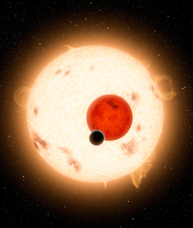 NASA handout image shows an artist's concept of the planet Kepler-16b with its two stars