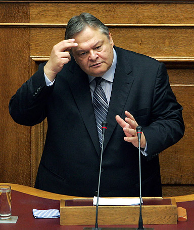 Greek government vice president and Finance Minister Evangelos Venizelos speaks during a session in the Greek Parliament in Athens, Greece, on September 21 2011.