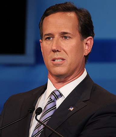 Republican presidential candidate, former U.S. Senator from Pennsylvania Rick Santorum speaks in the Fox News/Google GOP Debate at the Orange County Convention Center on September 22, 2011 in Orlando, Florida.