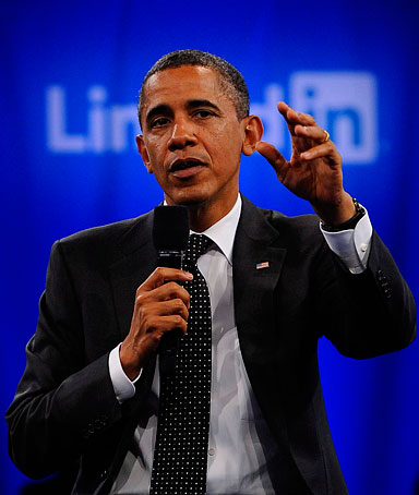 US President Barack Obama talks about jobs and the economy at the Computer History Museum during a town meeting sponsored by LinkedIn in Mountain View, California, on September 26, 2011.