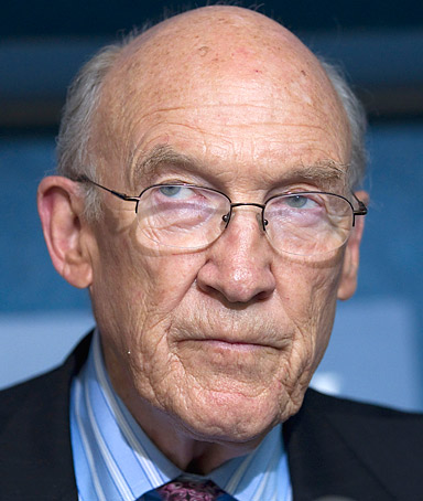 Alan Simpson, co-chairman of the National Commission on Fiscal Responsibility and Reform speaks during a news conference on deficit reduction, Monday, Sept. 12, 2011, at the National Press Club in Washington.