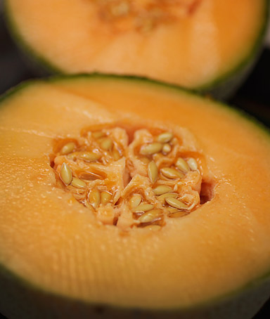 In this photo illustration a cantaloupe is seen sliced open on September 29, 2011 in Miami, Florida.