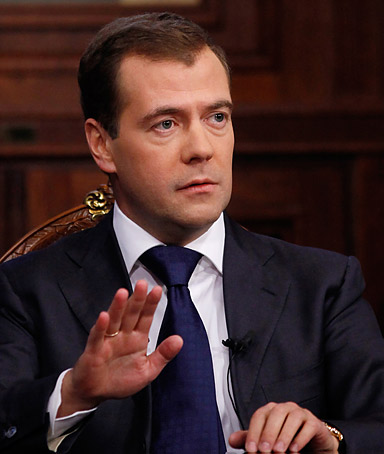 Russian President Dmitry Medvedev speaks during his television interview in the Gorki residence outside Moscow, on September 29, 2011.