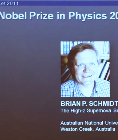 A screen grab shows Australian Brian Schmidt who won the 2011 Nobel Physics prize on October 4, 2011. Saul Perlmutter and Adam Riess of the United States and US-Australian Brian Schmidt won the 2011 Nobel Physics Prize