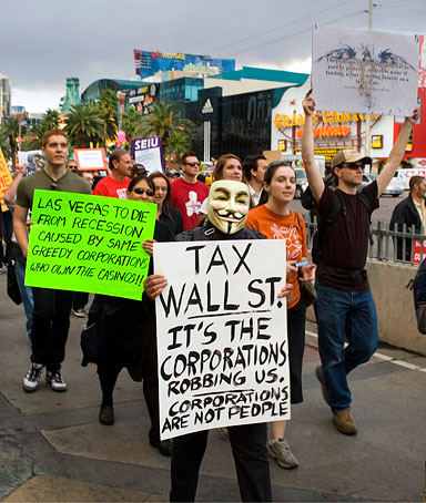 Protesters march on the Las Vegas Strip during an