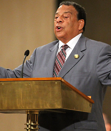 Andrew Young, former ambassador to the United Nations, pays tribute to Dr. Martin Luther King Jr. at the Basilica of the National Shrine of the Immaculate Conception in Washington, D.C. on Aug. 27, 2011.