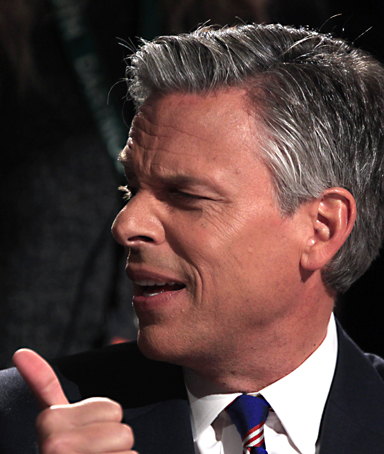 Republican presidential candidate former Utah Gov. Jon Huntsman participates in a presidential debate at Dartmouth College in Hanover, N.H., Tuesday, Oct. 11, 2011