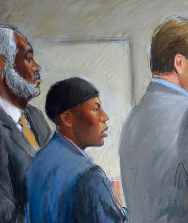 In this courtroom drawing, Umar Farouk Abdulmutallab, center, appears in U.S. District Judge Nancy Edmunds' courtroom in Detroit on Oct. 12, 2011