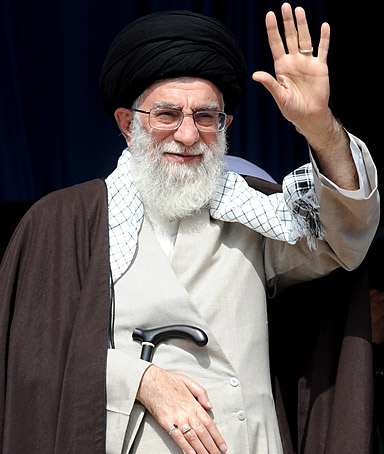 Iran's Supreme Leader Ayatollah Ali Khamenei waves to supporters before a speech in Karmanshah, Iran on October 15, 2011.