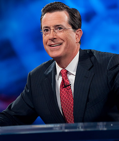 Host Stephen Colbert appears during the