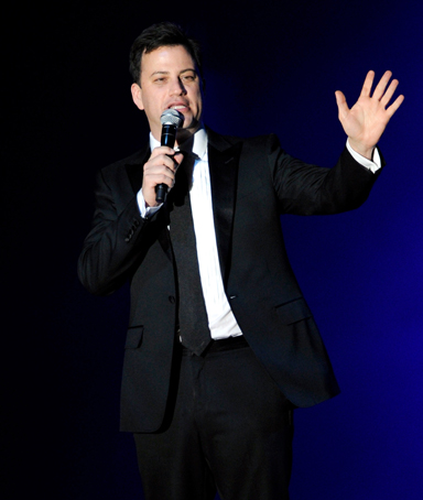 TV show host Jimmy Kimmel speaks onstage during the Andre Agassi Foundation for Education's 16th Grand Slam for Children benefit concert at the Wynn Las Vegas on October 29, 2011 in Las Vegas, Nevada