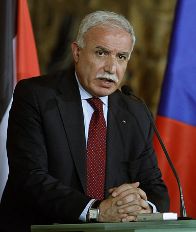 Palestinian Minister of Foreign Affaires Riad Malki answers questions during a news conference at the Cernin's Palace in Prague Czech Republic, Wednesday, Nov. 19, 2008.