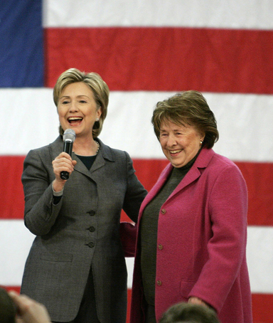 Hillary Rodham Clinton speaks on stage with her mother Dorothy Rodham during a rally in Des Moines, Iowa, in this December 7, 2007 file photo
