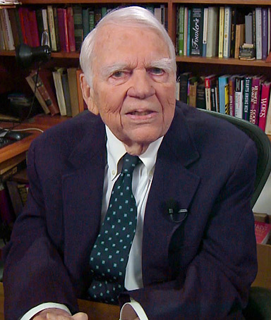 In this Aug. 23, 2011 file image taken from video and provided by CBS, Andy Rooney tapes his last regular appearance on �60 Minutes� in New York.