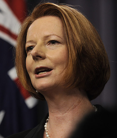 Prime Minister Julia Gillard speaking during a press conference in Canberra, Australia, on 08 November 2011.