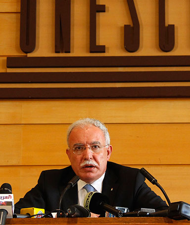 Palestinian Foreign Minister Riyad Malki attends a press conference during the 36th session of UNESCO's General Conference in Paris October 31, 2011