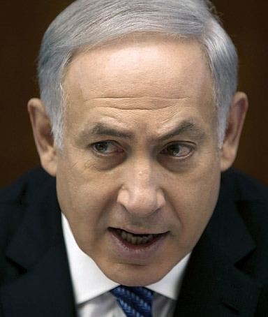 Israeli Prime Minister Benjamin Netanyahu attends the weekly cabinet meeting in his Jerusalem office November 6, 2011 in Jerusalem, Israel.