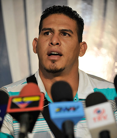 Venezuelan Washington Nationals' baseball catcher, Wilson Ramos, speaks during a press conference in Valencia, Venezuela on November 12, 2011.