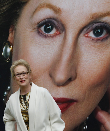 Actress Meryl Streep poses for photographers after unveiling a poster for her new film