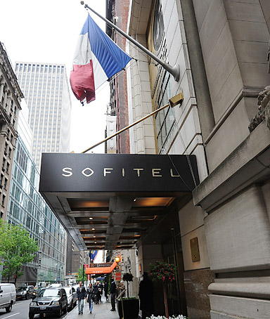 Exterior view of the Sofitel New York where Dominique Strauss-Kahn allegedly tried to rape a hotel maid, photographed on Tuesday, May 17, 2011 in New York.
