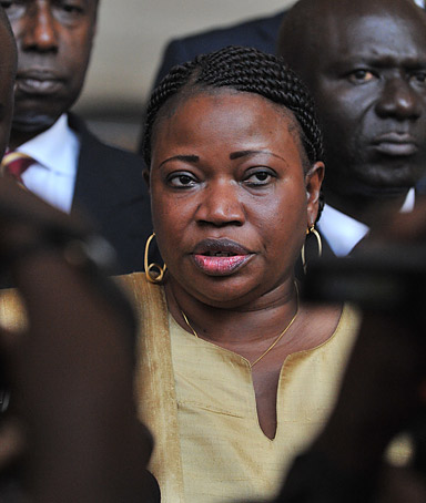 A file photo taken on June 28, 2011 shows Fatou Bensouda (C), Deputy Prosecutor of the International Criminal Court (ICC), speaking in Abidjan after her meeting with Ivory Coast president Alassane Ouattara.