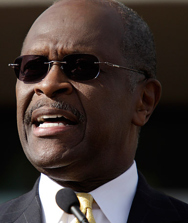 Republican presidential candidate and businessman Herman Cain announces that he is