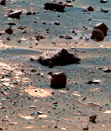 This view of Mars results from the observation of a target selected autonomously by AEGIS, Autonomous Exploration for Gathering Increased Science (AEGIS) onboard the Opportunity Mars rover, is pictured in this NASA photograph released December 8, 2011