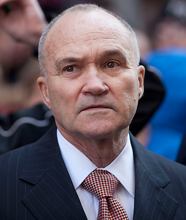 New York Police Department Commissioner Ray Kelly watches the Macy's Thanksgiving Day Parade in Times Square in New York on Thursday, Nov. 24, 2011. The parade premiered in 1924, this is its 85th year.