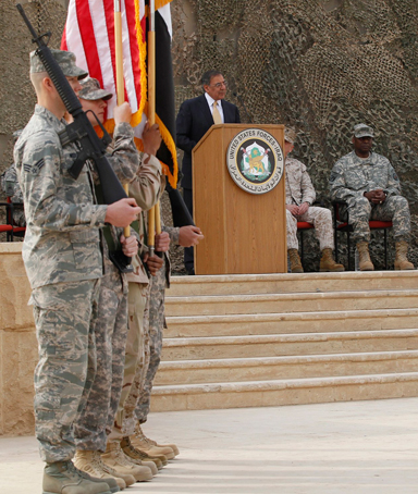 U.S. Defense Secretary Leon Panetta speaks during a ceremony marking the end of the U.S. military engagement at the former U.S. Sather Air Base near Baghdad December 15, 2011