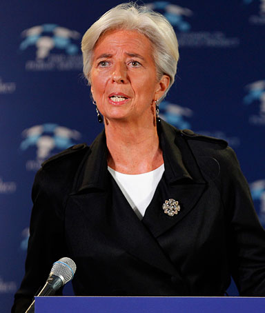 International Monetary Fund Managing Director Christine Lagarde addresses the Women In Public Service event at the Department of State December 15, 2011 in Washington, DC.