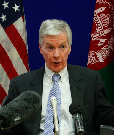 The U.S. ambassador to Afghanistan Ryan Crocker gestures during a press conference at the U.S. embassy in Kabul, Afghanistan, Saturday, Dec. 10, 2011