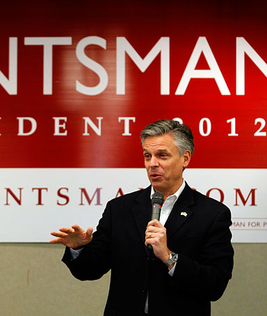 U.S. Republican presidential candidate and former Utah Governor Jon Huntsman addresses a business lunch campaign event in Portsmouth, New Hampshire January 5, 2012