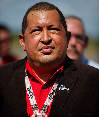 Venezuela's President Hugo Chavez looks on during the welcoming ceremony of the Peru's President Ollanta Humala at the Puerto Ordaz airport in the southern state of Bolivar January 7, 2012.