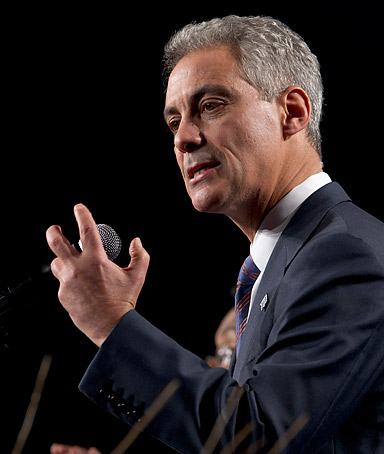Chicago Mayor Rahm Emanuel delivers the keynote speech in support of President Obama, at the Iowa Democratic Party's annual Jefferson Jackson Dinner, in Des Moines, Iowa, Saturday, Nov. 19, 2011.