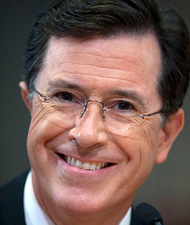 Comedian Stephen Colbert appears before the Federal Election Commission in Washington, Thursday, June 30, 2011.